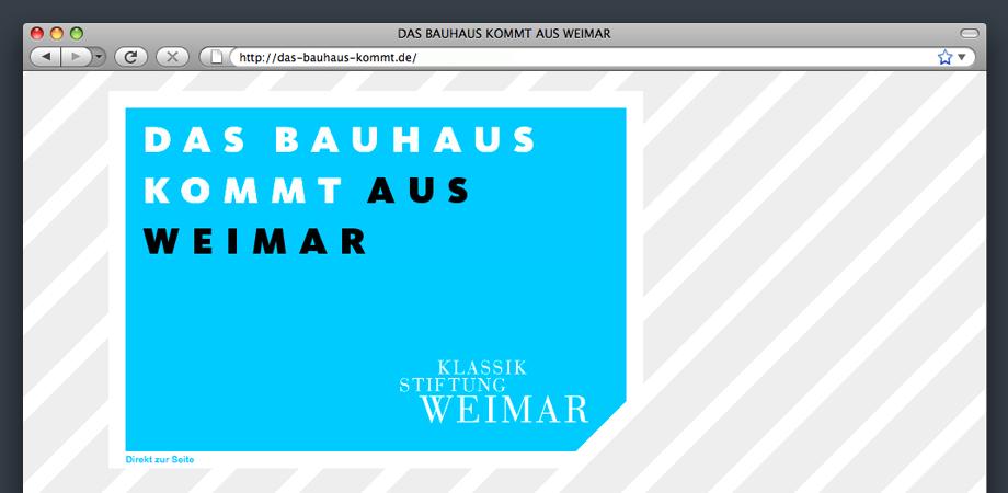 Das Bauhaus kommt aus Weimar – Startseite der Webseite