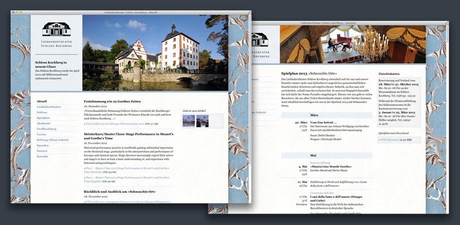 Liebhabertheater Schloss Kochberg Website 2013