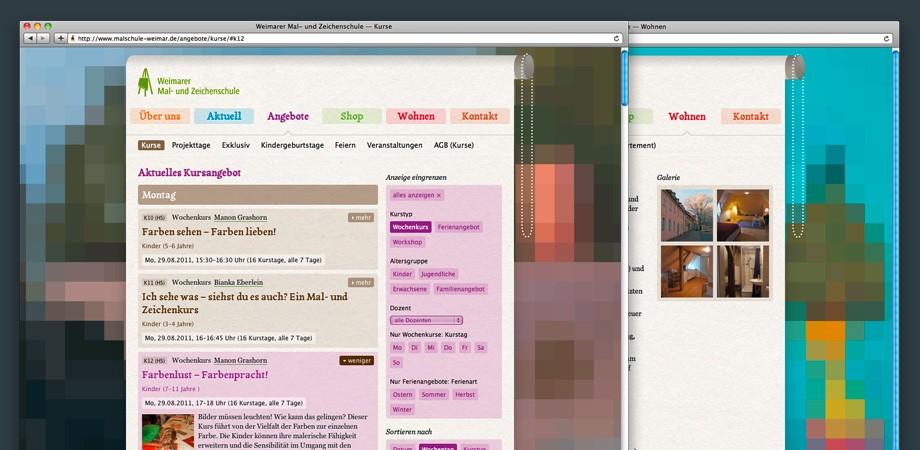 Weimarer Mal- und Zeichenschule – Website Kursauswahl 2011