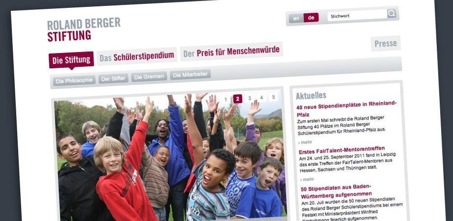 Roland Berger Stiftung – Website Startseite