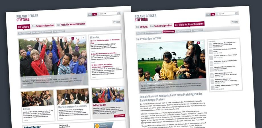Roland Berger Stiftung – Website Inhaltsseiten